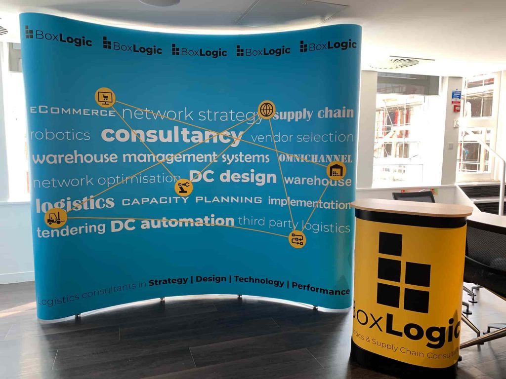 The BoxLogic display material assembled as preparation at our office in Reading for the main event