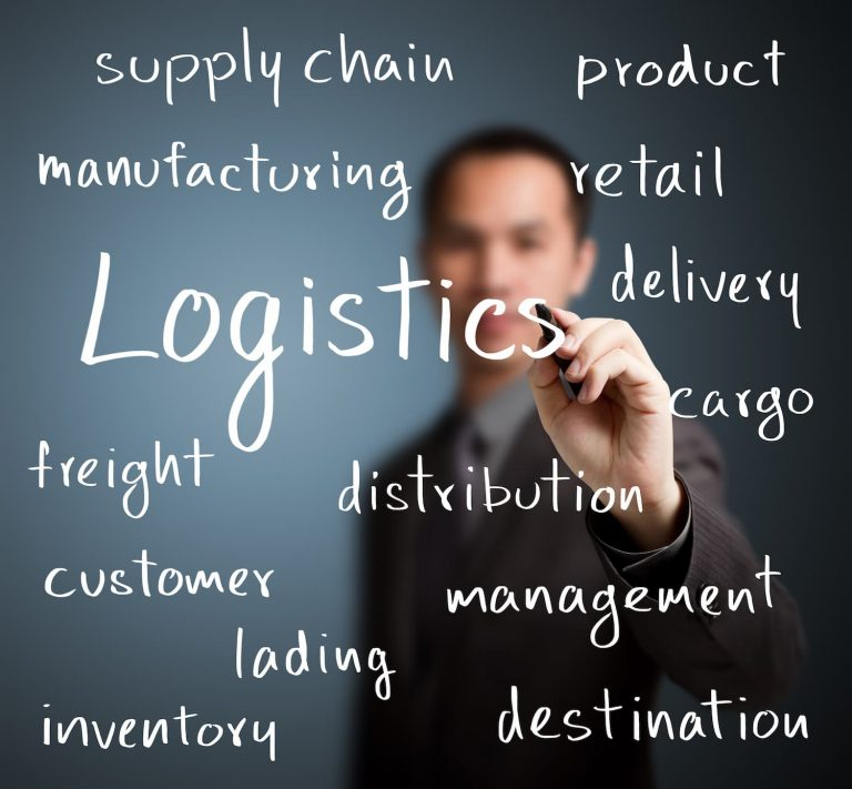 A consultant writes a range of words on a board that relate to logistics