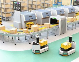 An automated warehouse integrated manual shelving of cartons with a conveyor system and autonomous mobile robots (AMR) are shown in the foreground