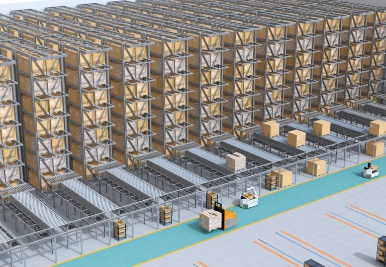 An ASRS pallet store is shown with conveyors stretching out from each bank of racking to supply another process. AGVs move products across the front of the tramming aisle