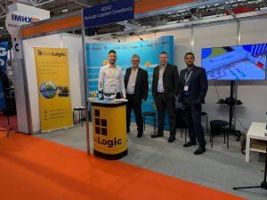 The BoxLogic stand at IMHX 2019 shows (from left to right), Matthew Hopkins, Jon Porter, Stuart Parsons and Nishit Nisudan
