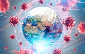 A series of virus microbes encircle the globe, showing how the world is caught in a pandemic