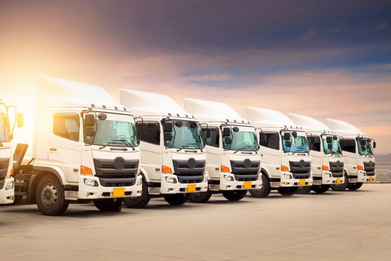 Several HGV tractor units sit parked in a car park against a pink and blue dusky sky background