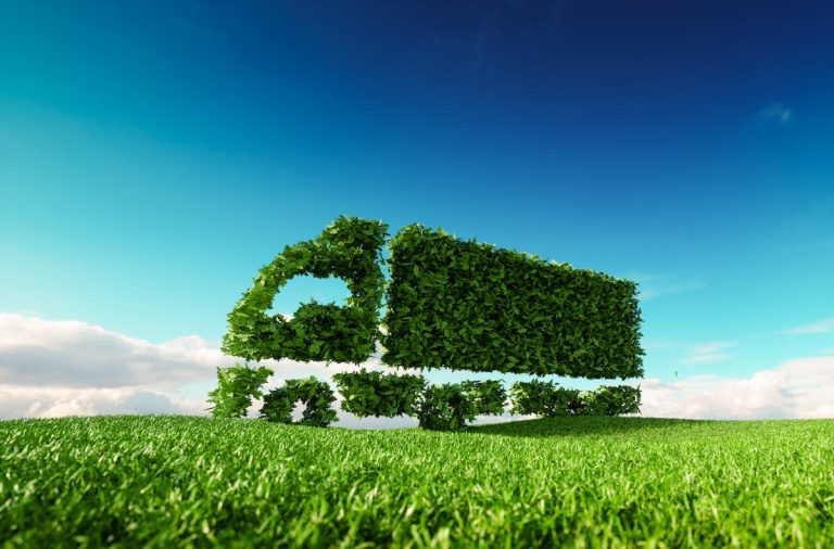 A healthy green bush is carved into the shape of a heavy goods vehicle (HGV) on a grassy foreground and a clear blue sky in the background illustrating green logistics, transport and supply chains