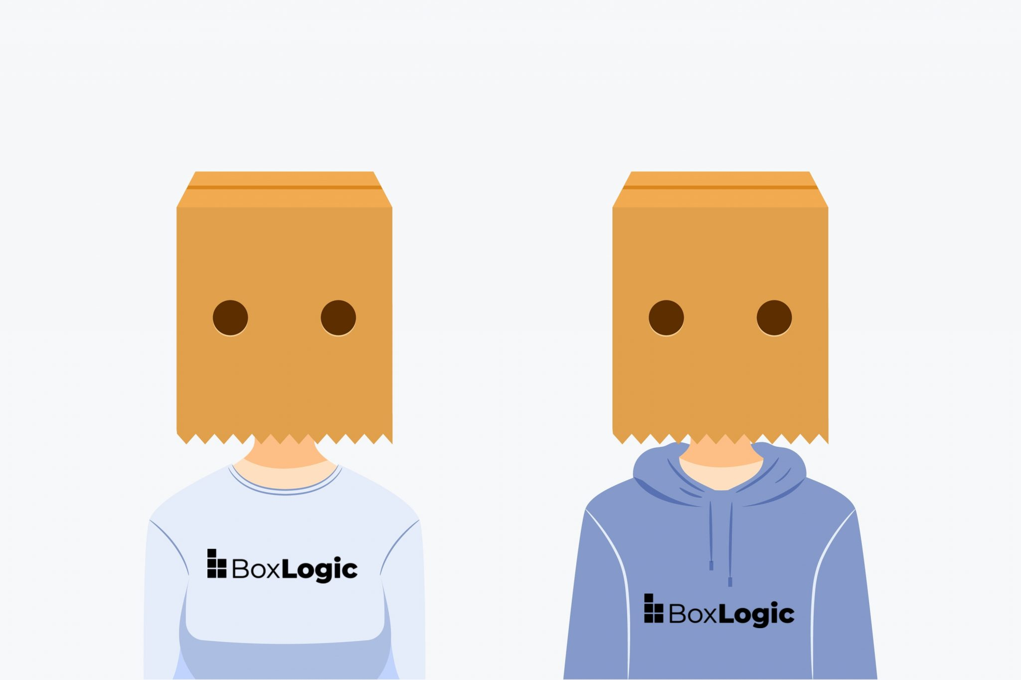 A vector of a male and female wearing a cardboard box (BoxLogic) over their heads whilst wearing BoxLogic branded hoody and long-sleeve t-shirt respectively. Could you be our next recruit?