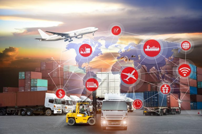 A yellow counterbalance fork lift truck loads a container onto a HGV with stacks of containers and a cargo plane in the background. An interconnected world map overlays the image