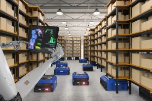 Several blue goods to person picking AMRs are moving on the floor with some lifting racks in a low bay warehouse
